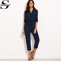 Sheinside 2017 Tie Waist Rolled Sleeve Equipment Jumpsuit Navy Long Sleeve Drawstring Waist Jumpsuit Women Elegant