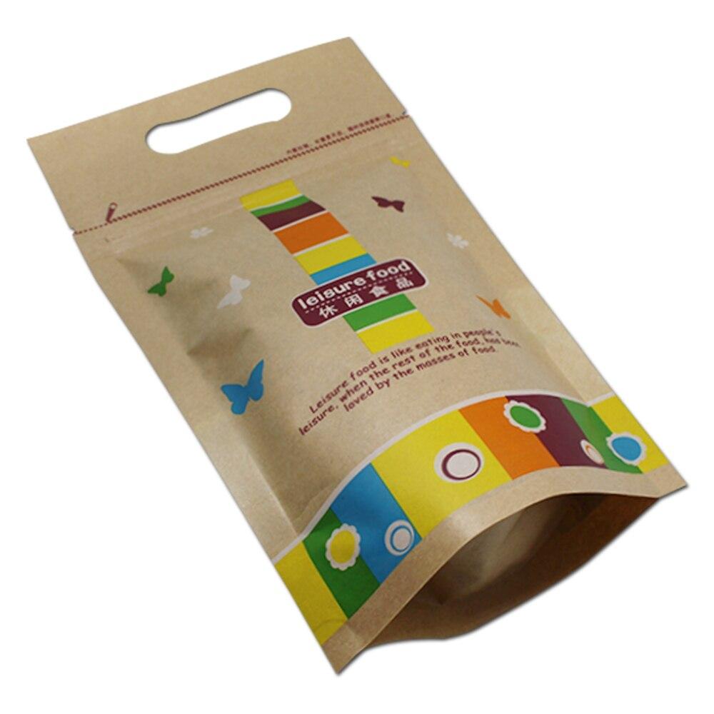 400 Teile/los Dhl Hand Kraft Papier Zip-lock Wiederverschließbaren Paket Tasche Für Nüsse Snack Verpackung Stand Up Kunststoff Fenster Lagerung Taschen