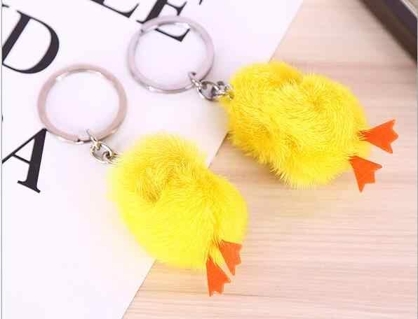 Venda quente moda de nova bonito frango pato amarelo pele macia keychain para unisex animais saco chave do carro chave anel chave cadeias