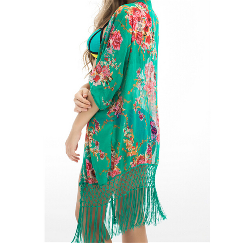 2017 Summer Floral Beach Cover Up Bikini Bathing Suit Cover Ups BeachWear Tassel Trim Swimsuit Coverup Dress Saida De Praia