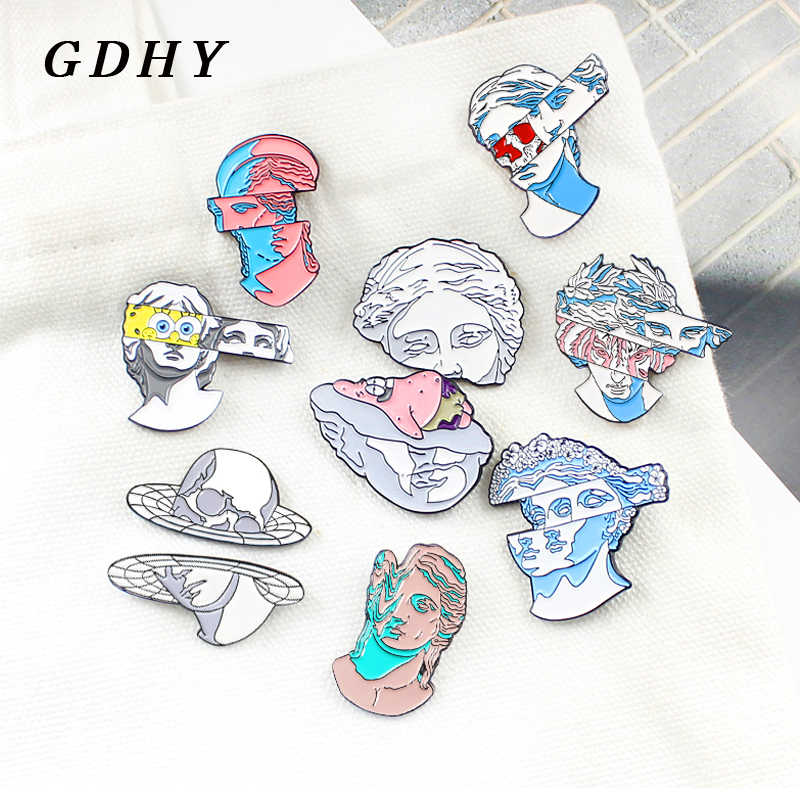 GDHY Grey Blue Stone Human Classic Figure Statue Sculpture Brooch Dislocation Space Statue Spongebob Enamel Pins Badge Jewelry