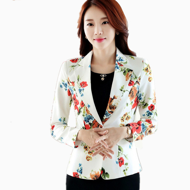 Women blazers and jackets White Printed Blazer Feminino Plus Size 3XL  Long-sleeved Floral Small 260ccaf05974