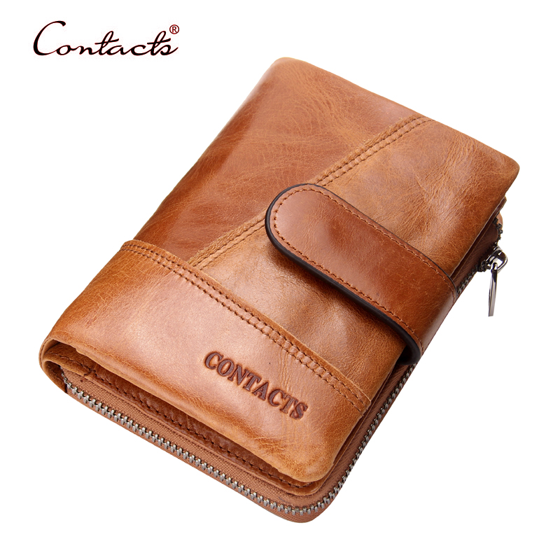CONTACT'S Men Wallets Cowhide Genuine Leather Wallet Card Holder Purses Coin Pocket Vintage Purses Male Purse 2017 New Design 2017 new cowhide genuine leather men wallets fashion purse with card holder hight quality vintage short wallet clutch wrist bag