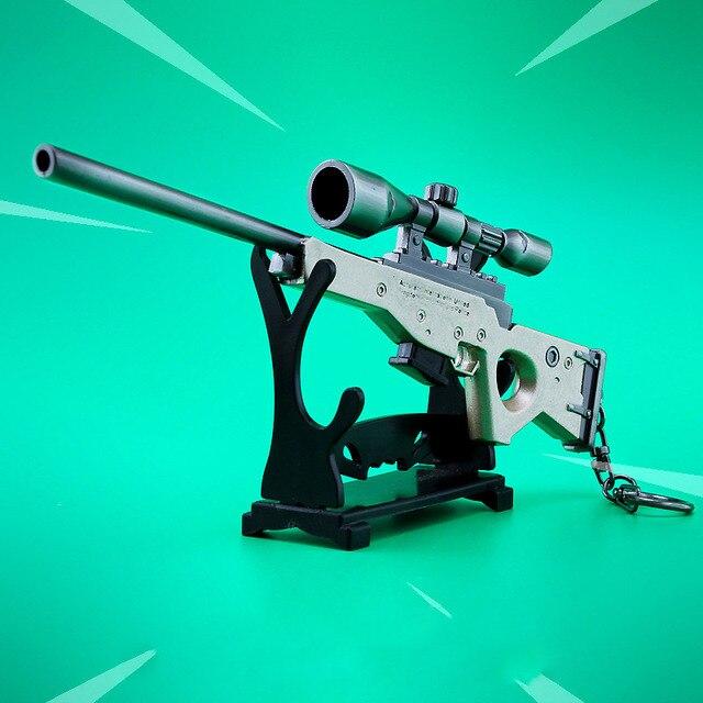 Zinc Alloy Fort weapons Metal model toy Nite Keychain Gun Sniper rifle awm nit figure Fornite