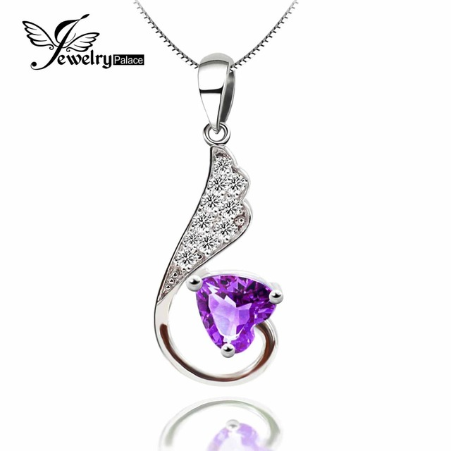 Heart Natural Amethyst Pendant Solid 925 Sterling Silver Brand Gem Stone Pendant  Women Jewelry Gift Fine Jewelry  Minimalist