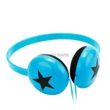 Rockpapa Boys Girls Kids Children Teens Stereo Adjustable Black Star Headphones Headset for Xiaomi iPhone iPod LeapPad / Blue