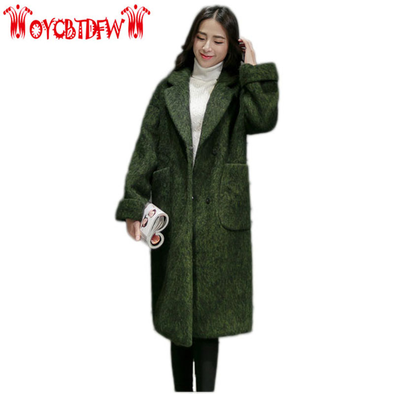 Autumn Winter New Coat Long Section Solid Color Turn-down Collar Covered Button Long Sleeves Fashion Women Woolen Coat Ly0200 2016 autumn winter women s casual fashion not as long as before and after long section side seam zipper bags seven snowflakes