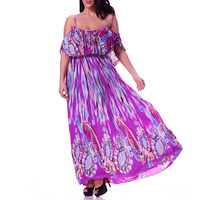 Plus Size Strap Ruffle Off The Shoulder Floral Print Elegant Dress 4Xl 5Xl Korean Cold Shoulder Long Maxi Dress For Women