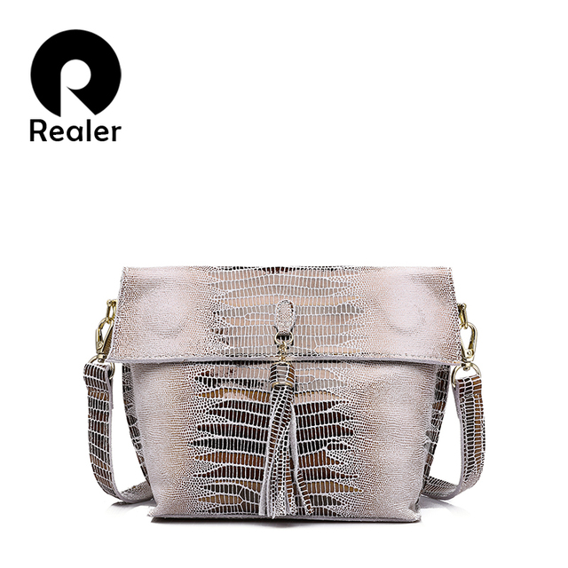REALER brand women messenger bags genuine leather crossbody bag ladies handbags with tassel serpentine pattern leather bag