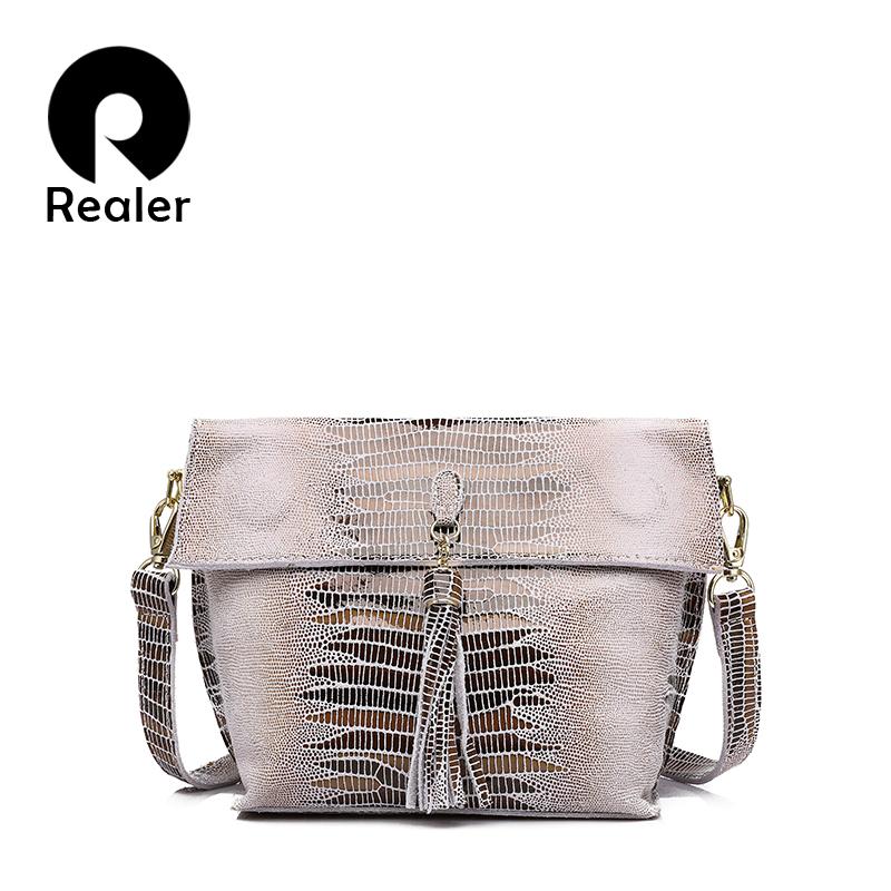 Prix pour REALER marque femmes messenger sacs véritable bandoulière en cuir sac dames sacs à main avec le gland motif en serpentin en cuir sac