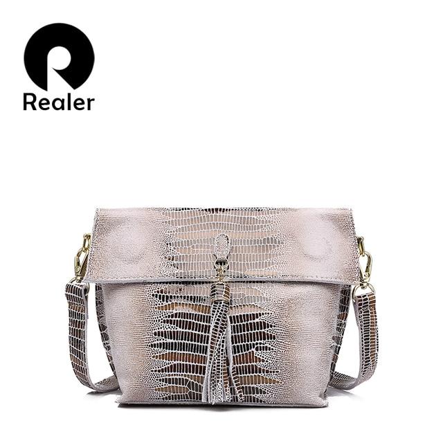 REALER маленькая сумка женская через плечо натуральная кожа, женские кожаные сумки из натуральной кожи с змеиным принтом, женская сумка-мессенджер с кисточками 5 цветов