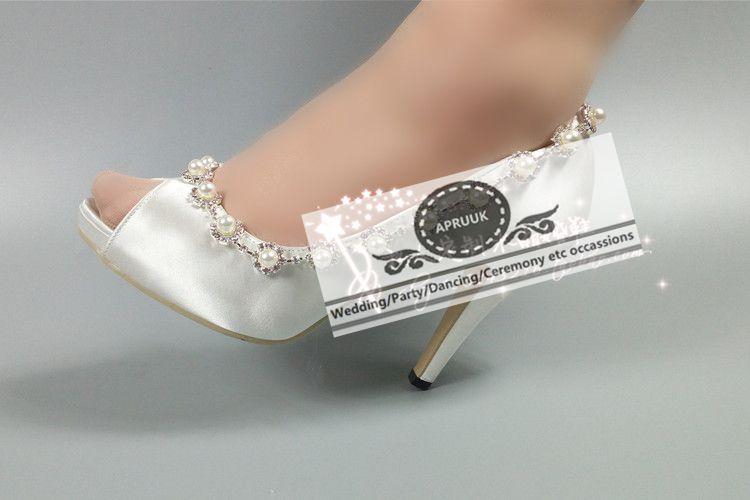 Hs337 Toes De 8cm Novias Altos Peep Elegante Perlas Cristal Cadena Boda Mano Satinado Zapatos Nupcial 10cm Tacones Heel Heel A Hecho Lujo Súper Bombas xvYBOawq