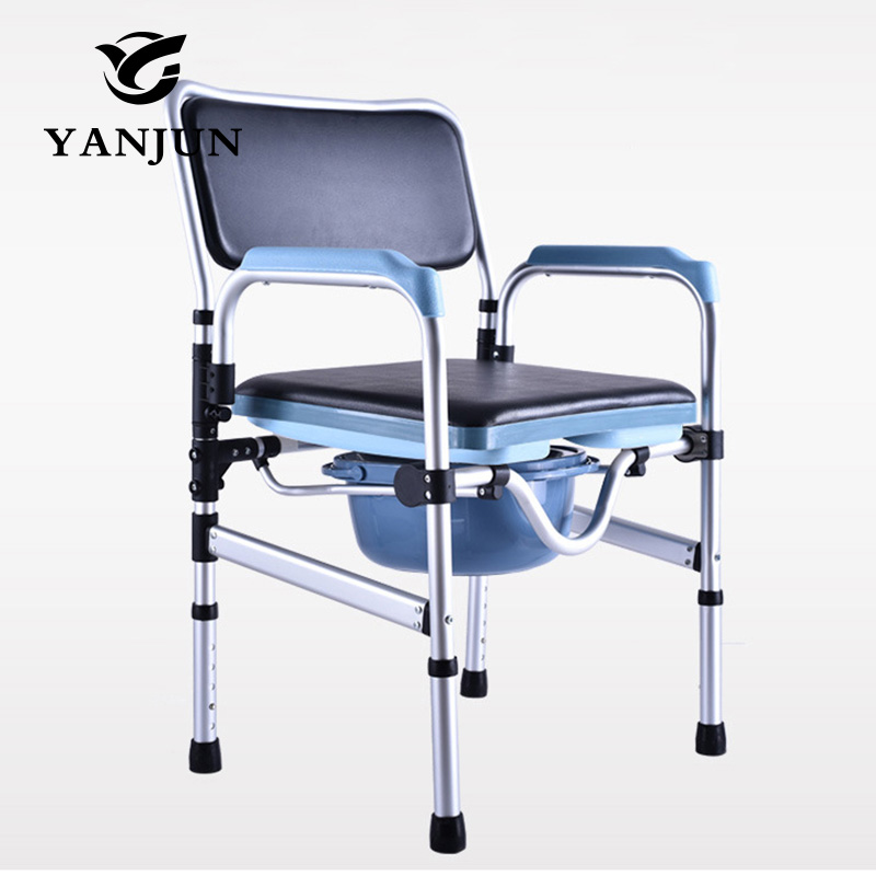 Фото YANJUN  Folding Handicapped Commode Chair Portable toilet shower chairs Disabled Toilet Potty Chair Height-Adjustable  YJ-2092