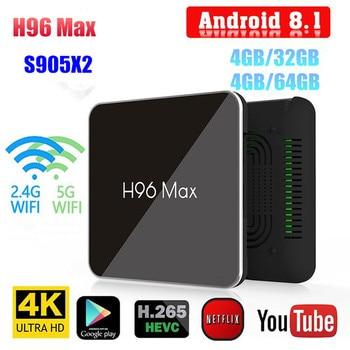 H96 MAX TV Box Android 8.1 S905X2 4K HD 4GB RAM 32GB/ 64GB Smart Media Player Set-top Box 2.4G&5GHz Dual Wifi