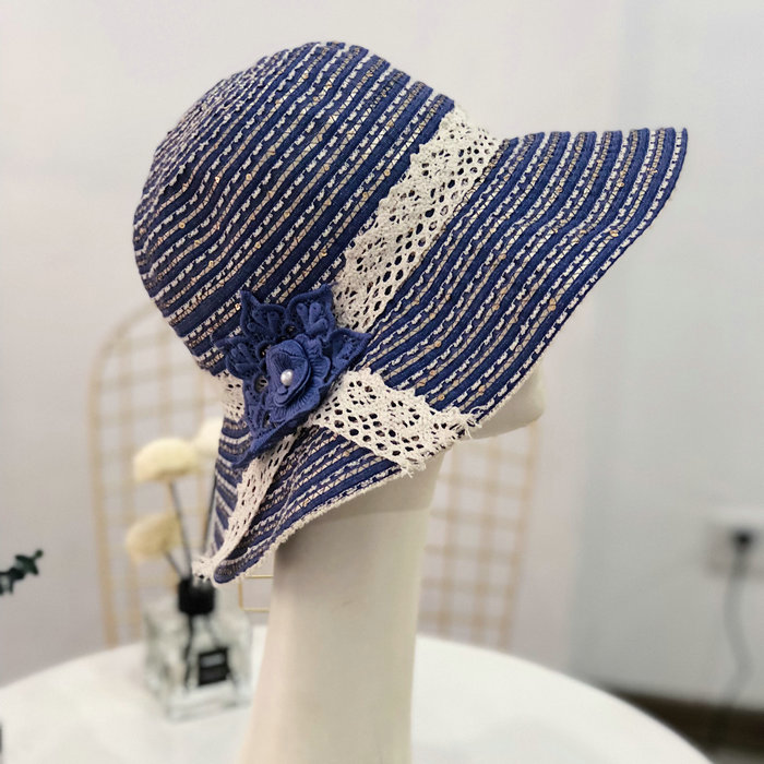 10pcs/lot 01805-liupei5 Sequined gold thread flower striped bowknot shade lady leisure cap woman sun hat wholesale