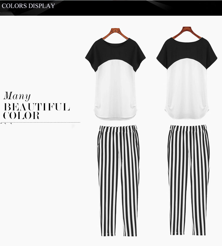 HTB1hGV.QXXXXXaraXXXq6xXFXXXH - Black White Striped Pencil Trousers Elegant Ladies Pants PTC 182