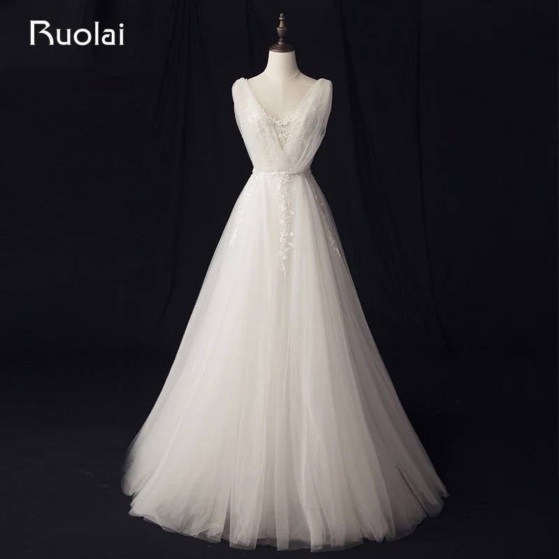 A Line Simple Wedding Dresses: Real Photo Simple A Line Wedding Dresses Long Lace Bridal