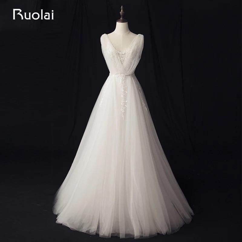 असली फोटो सरल ए-लाइन - शादी के कपड़े