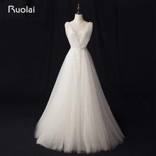 Nyata Foto Sederhana A-Line Wedding Dresses Panjang Lace Bridal Gown V-Neck Applique Tulle Boho Gaun Pengantin Robe de Mariage RW10