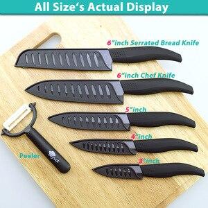Image 5 - קרמיקה סכין 3 4 5 אינץ + 6 אינץ סכיני מטבח משונן לחם סט + קולפן Zirconia שחור להב פירות שף סכין Vege לבשל כלי