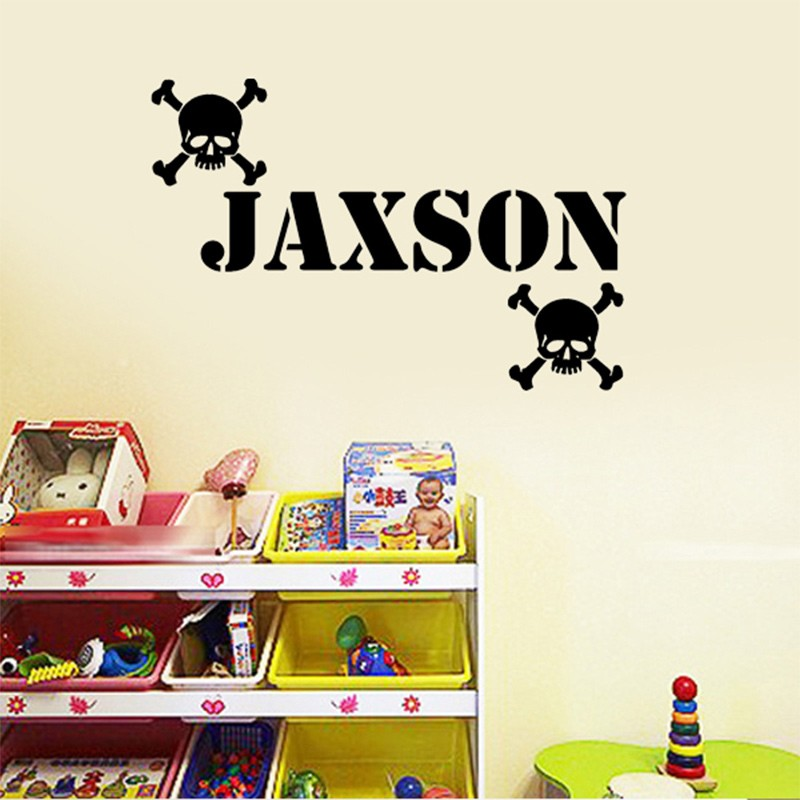 Custom Name Skull Head Wall Stickers Boys Rooms Decoration Decals - Custom vinyl stickers for promotion