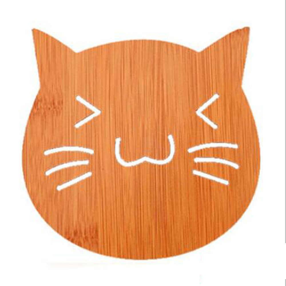 2018 1 шт. винтажный милый кот с рыбкой подстаканник выдалбливают деревянные резные подстаканники чаша коврик чайный кофе чашка коврик 100 г F