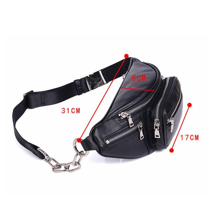 Beaumais Genuine Leather Waist Bag Women Waist Pack Waist Bag Funny Pack Belt Bag Women Men Chain Waist Bag For Phone DF0301