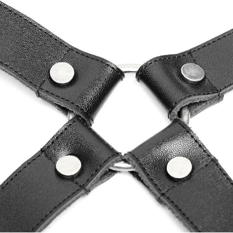 PUNK RAVE hommes Punk Rock pantalon bandoulière accessoires classique PU cuir métal crochets gothique fête Club noir hommes bretelles - 5
