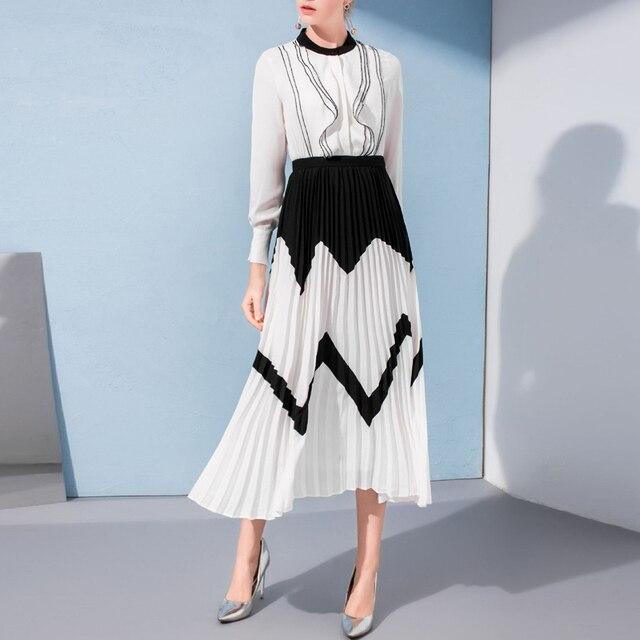 dd1e7365a231e US $69.99 |Aliexpress.com : Buy HIGH QUALITY Newest Fashion 2018 Designer  Runway Dress Women's Lantern Long Sleeve Ruffles Shirt Patchwork Pleated ...