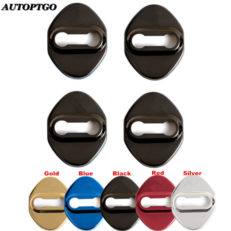Set of 4Pcs Stainless Steel Car Door Lock Catch Protective Cover Cap Lids For Most Honda Civic Accord Crv CR-V Acura DoorLock