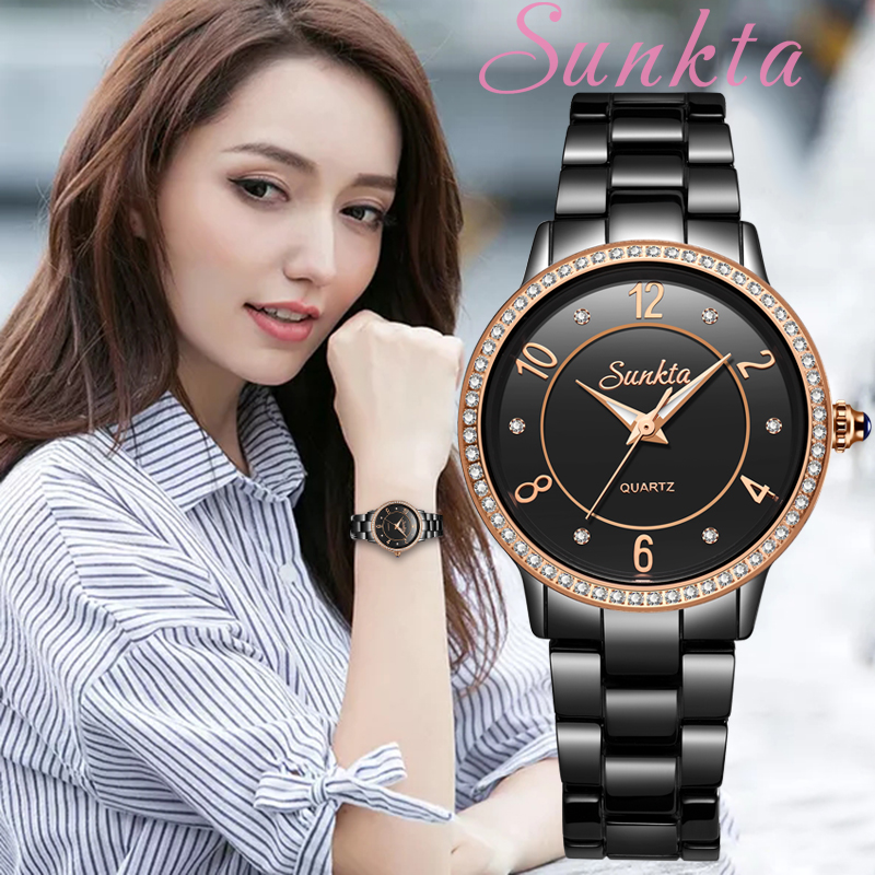 SunKta Top Quality Ladies Rhinestone Watch Luxury Rose Gold Black Ceramic Waterproof Watches Woman Classic Series Ladies Watch