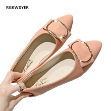 RGKWXYER New women flats shoes Solid Color Suede Female shoes Fashion High Quality Basic Pointed Toe Ballerina Ballet Flat shoes new women calf leather flats fashion high quality basic solid colors toe pointed ballerina ballet flat slip on shoes handmade