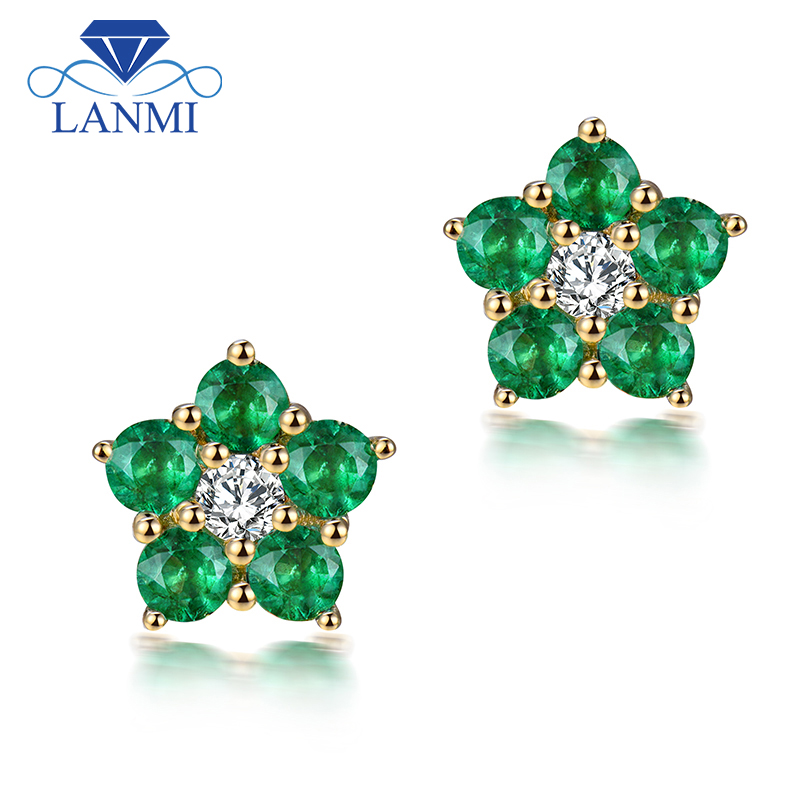 LANMI Fine Jewelry Solid 18K Yellow Gold AU750 Green Emerald Diamond Earring for Women Wedding Gemstone Jewelry Gift solid 18k yellow gold green emerald wedding diamonds rings good quality genuine gemstone fine jewelry for women promised gift