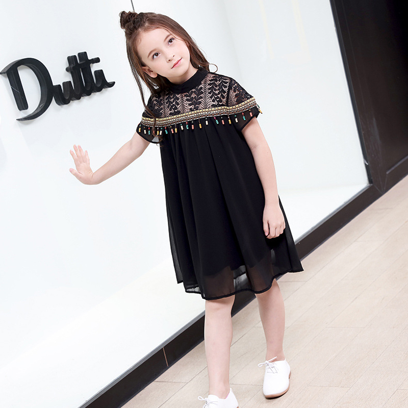 Little Girls Party Dress 6 7 8 9 10 11 12 14 15 years Solid Black Lace Tassel Chiffon Summer Dress Teenage Baby Girl Clothing girl