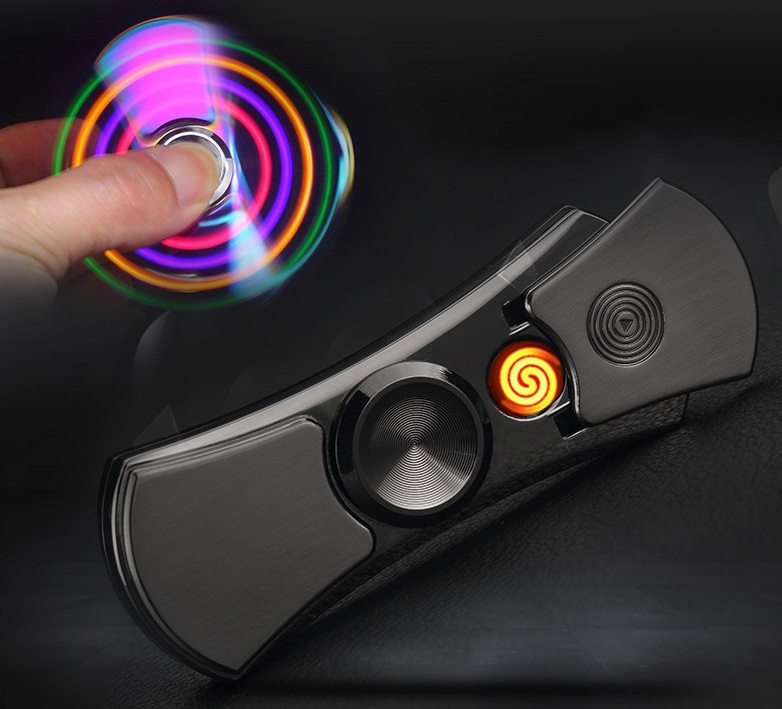 YOUNAN Fingertip Gyroscope Lighter USB Charging Windproof Lighters Electronic Cigarette Lighter Men Gift With Box-7001