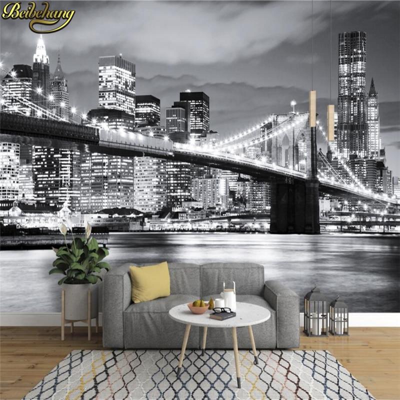 Beibehang Photo Wallpaper BROOKLYN BRIDGE NEW YORK Designer Wall Mural Vinyl Wallpaper Papel De Parede Adesivo 3d Wallpaper
