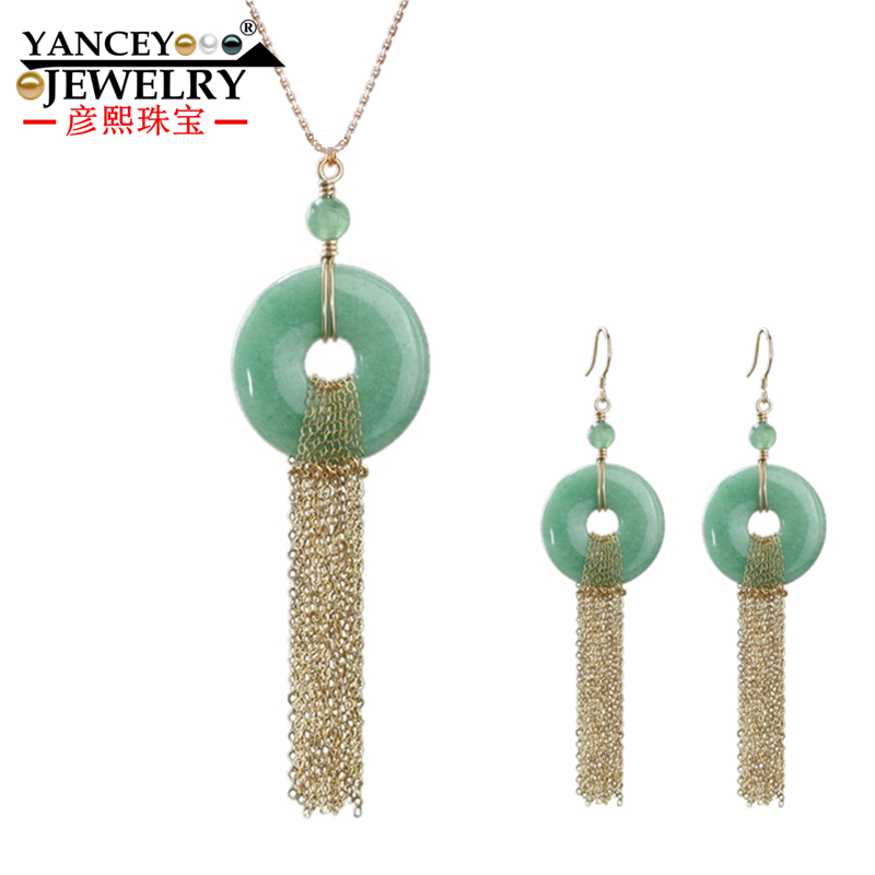 NEW Original design, Natural light green jade Ping buckle Tassel Drop Earrings and Necklace pendants sets for women with 9K gold a suit of stylish fake gem rhinestone leaf tassel necklace and earrings for women