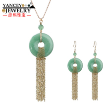 NEW Original design, Natural light green jade Ping buckle Tassel Drop Earrings and Necklace pendants sets for women with 9K gold