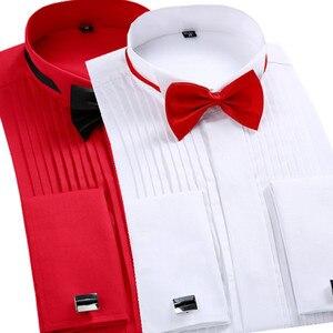Мужская Однотонная рубашка под смокинг, формальная рубашка с длинным рукавом и воротником-крылышком, с французскими манжетами, для свадьбы