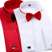 Camisa smoking com bainha francesa para homens, camisa de cor sólida, camisa com alça no colarinho e manga comprida, camisetas sociais para homens, camisetas de noivado para casamento camisa com camisa