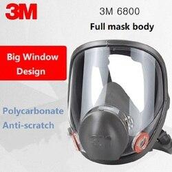 Genuino 3 M 6800 M máscara de silicona de Gas de cara completa respirador PC lente Anti-polvo pintura de rasguño rociado de pesticida soldadura química máscara