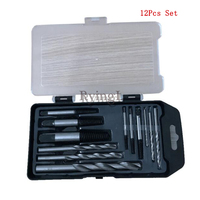12pcs Damaged Screw Extractor Drill Bits Guide Set Broken Speed Out Easy out Bolt Stud Stripped Screw Remover Tool