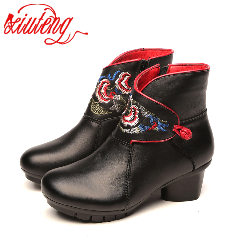 Xiuteng Folk Style Shoes Martin Ankle Booties Genuine Leather Vintage Mom Women's Handmade Retro Embroidery Shoes For Women 2018 original handmade autumn women genuine leather shoes cowhide loafers real skin shoes folk style ladies flat shoes for mom sapato
