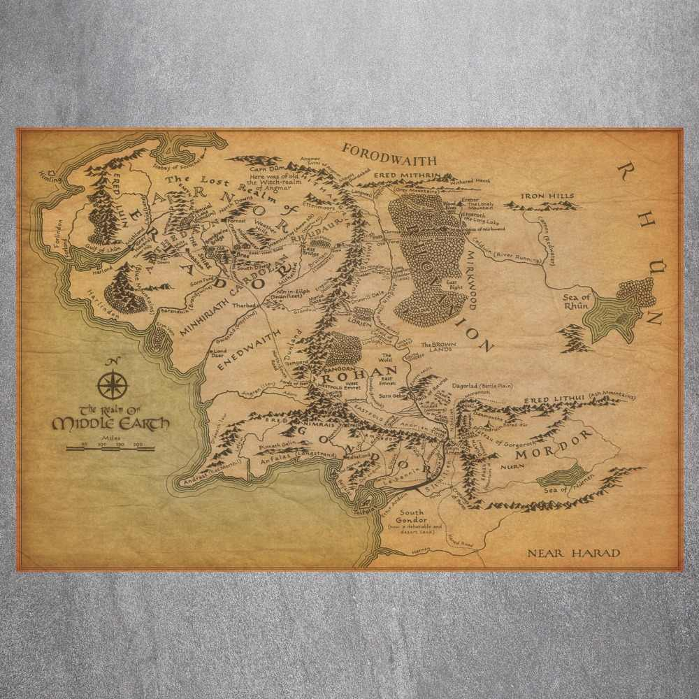 Middle Earth Map  Quote Canvas Art Print Poster Wall Pictures For Bed Room Decoration Home Decor Silk Fabric No Frame