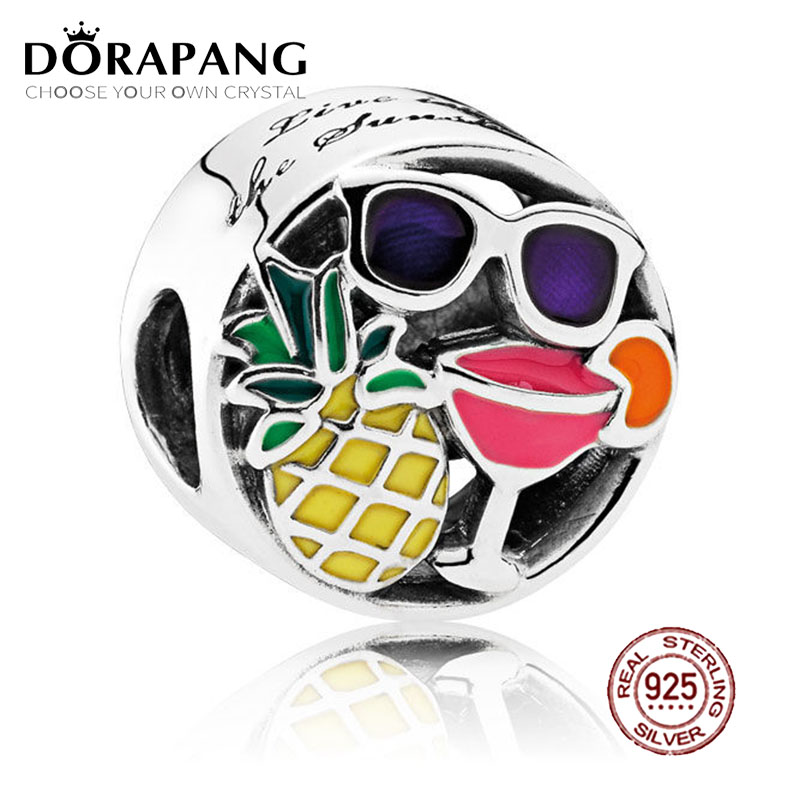 DORAPANG 100% 925 Sterling Silver Summer Fun Charm Mixed Enamel Charms Bead Fits Original Bracelets DIY bracelet