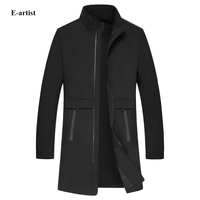 Men S Stand Collar Casual Long Zipper Trench Coats Male Spring Autumn Outwear Overcoats Jackets Windbreakers