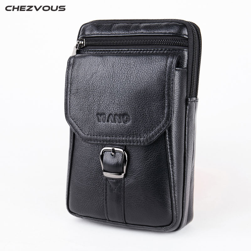 CHEZVOUS 7.0 Large Mobile Phone Bag for Samsung/iPhone/Huawei Belt Clip Holster Leather Fashion Waist Pack with Shoulder Strap