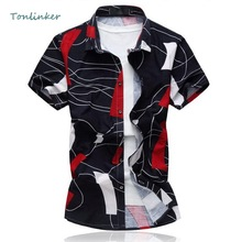 Tonlinker 2018 Summer Men shirt Casual Printing Short Sleeve men shirts Slim fit sleeves Large Size Mens Clothing 5XL 6XL