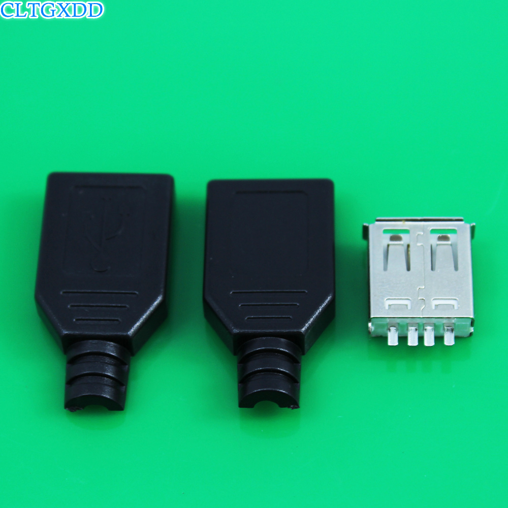 cltgxdd IMC hot New Type A Female 2.0 USB 4 Pin Plug Socket Connector With Black Plastic Cover Solder type DIY Connector