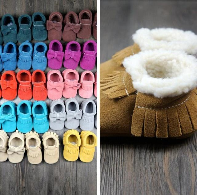2016 Genuine Cow Leather suede with fur Baby Moccasins Baby Bow Shoes girls Newborn first walker Anti-slip Infant Shoes Footwear